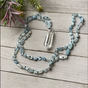 Aquamarine and Double Point Quartz Necklace